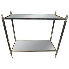 French Maison Baguès Style Rectangular Bronze Gueridon with Mirrored Tops
