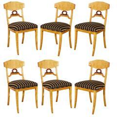 Set of Six Biedermeier Swedish Birch Side Chairs