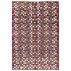 Vintage Persian Kashan Modernist Rug