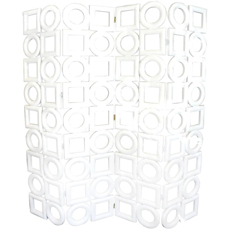 Rounds and Squares Folding Screen by Wooden Structure by Pierre Cardin, 1970 For Sale