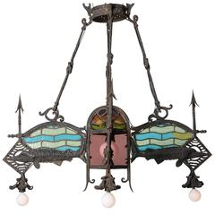 Iron/Stained Glass Chandelier