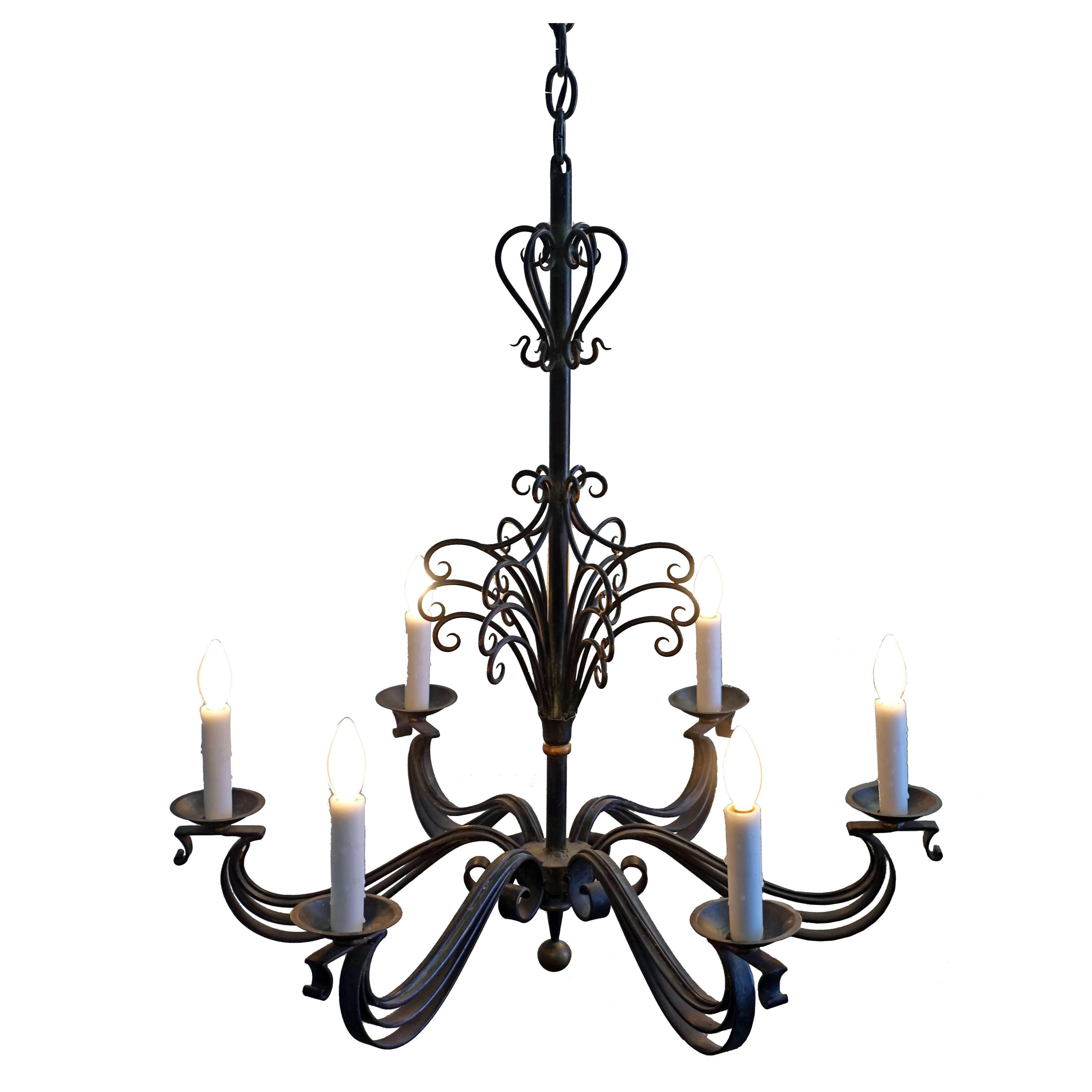 French Wrought Iron Chandelier Light Fixture