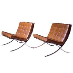 """Pair of Vintage """"Barcelona"""" Chairs by Ludwig Mies Van Der Rohe for Knoll"""