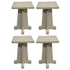 Four Early Modern Stools or Tables with Original Paint, Attributed to Rietveld