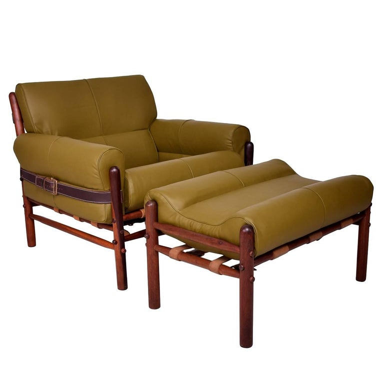 "Danish Modern Arne Norrel ""Kontiki"" Safari Chair & Ottoman"