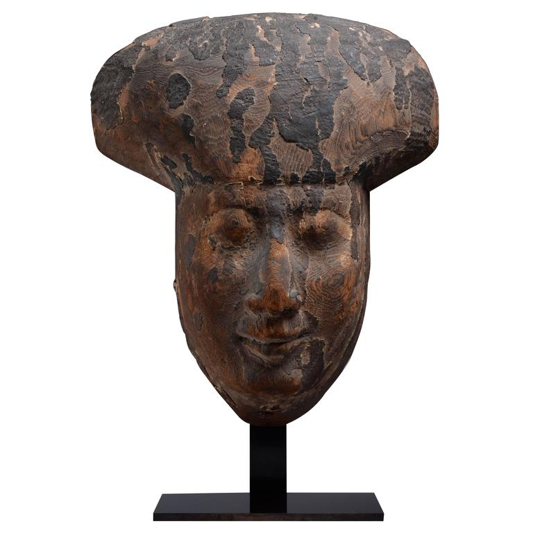 Ancient Egyptian Wooden Sarcophagus Face Mask, 200 BC