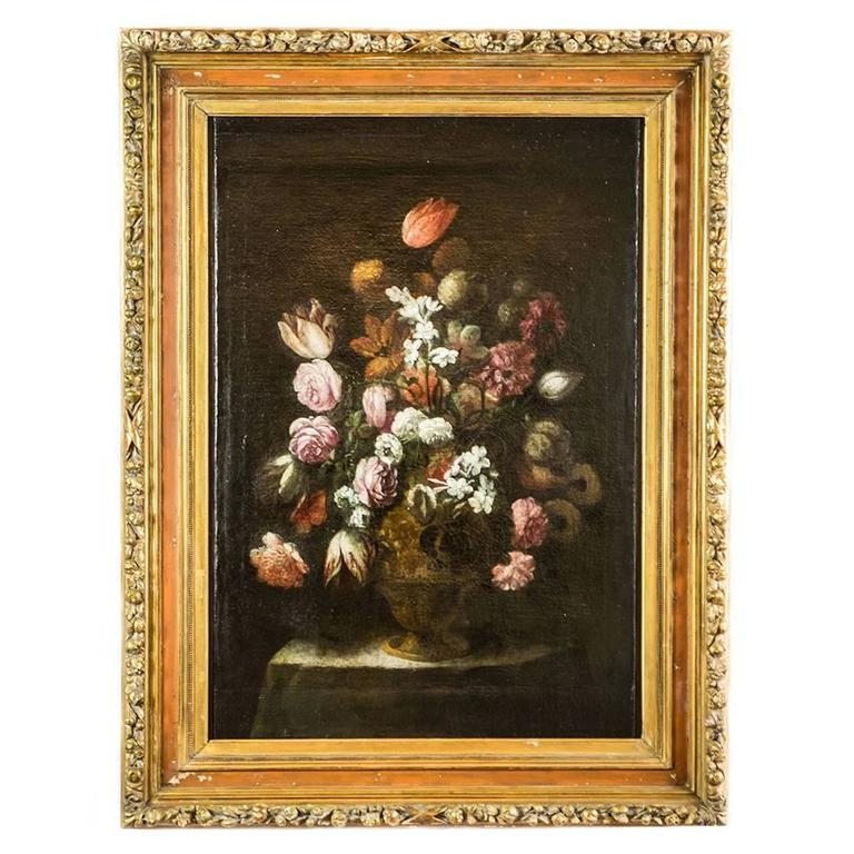 17th Century Italian Still Life of Flowers Lombard School Oil on Canvas Painting