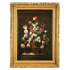 Italian 17th Century Flowers Still Life Lombard School Oil on Canvas Painting