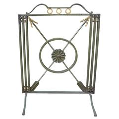 Antique French Art Deco Wrought Iron Fire Screen With Arrows, Circa. 1930