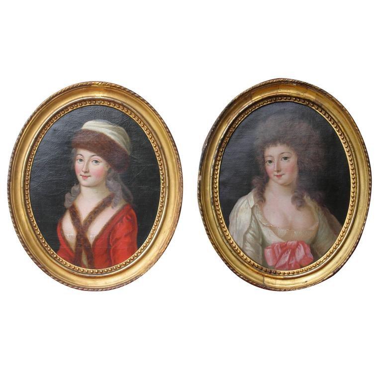 Pair of 18th Century Portraits For Sale