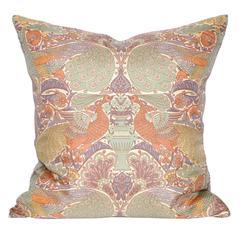 Vintage Liberty of London Peacock Print Silk Scarf Irish Linen Cushion Pillow