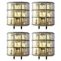 1 of 4 Large Mid Century Iron and Bubble Glass Wall Lights by Glashütte Limburg