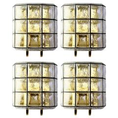Four Large Mid Century Iron and Bubble Glass Wall Lights by Glashütte Limburg