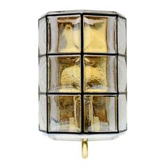 Iron and Bubble Glass Wall Lights Sconce by Glashütte Limburg circa 1960