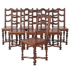 Set of 8 French Louis XIV Style Walnut Dining Chairs, Circa 1920s