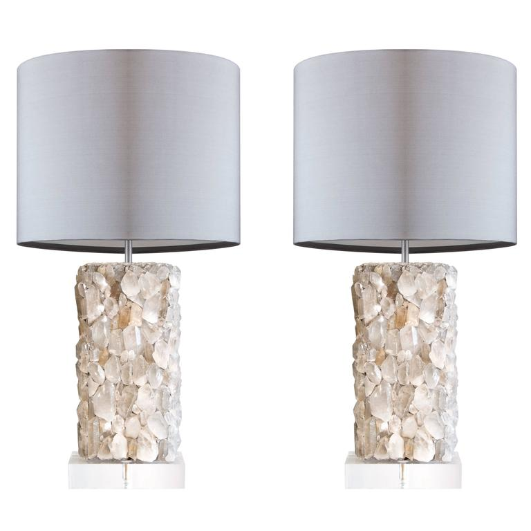Pair of Rock Crystal Lamps on Custom Bases