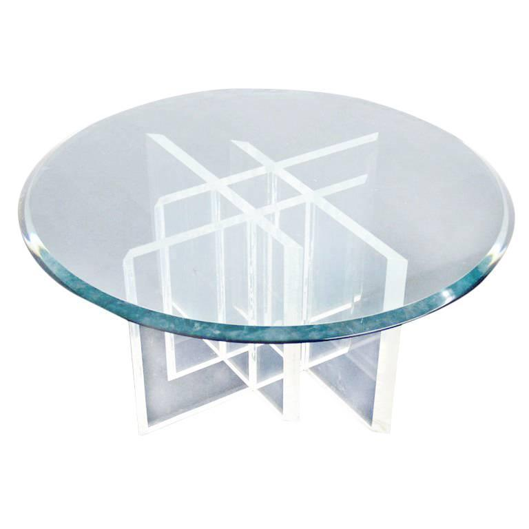 Lucite Base Glass Top Round Mid Century Modern Coffee Table For Sale At 1stdibs