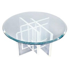 Lucite Base Glass Top Round Mid Century Modern Coffee Table
