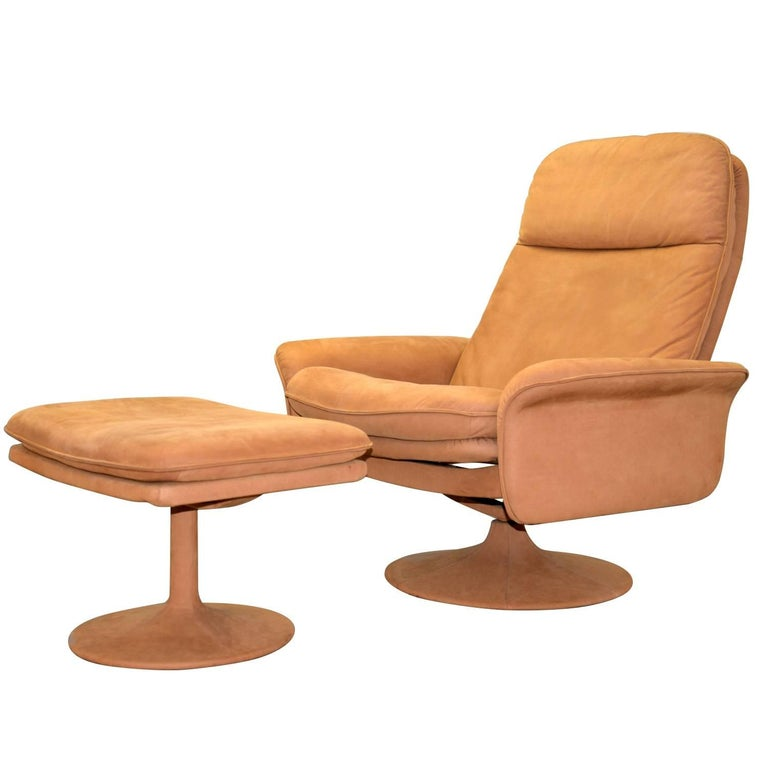 Vintage Swiss de Sede DS 50 Lounge Swivel Armchair and Ottoman