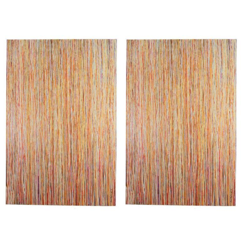 Pair of Large Scale Abstract Paintings by Erin Mc Parland