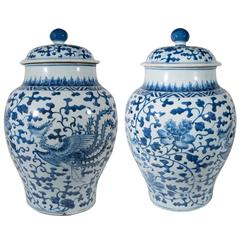 Antique Blue and White Chinese Porcelain Ginger Jars