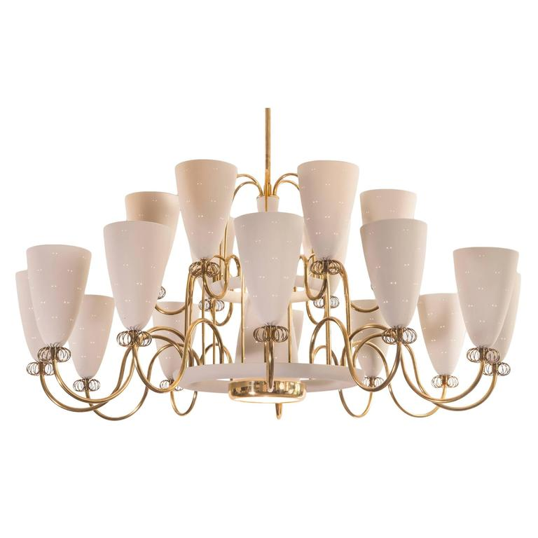 Lightolier Ring Chandelier At 1stdibs: Paavo Tynell For Lightolier, Large And Rare 19 Light Brass