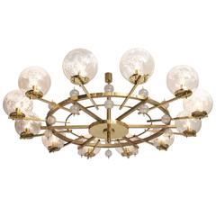 Extreme Large 8.5 ft. Chandelier in Brass and Art-Glass Spheres