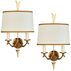 Pair of Bronze Sconces by Maurice Jallot, France 1950s