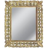 French Mid-Century Hand Carved Gilt Wood Rectangular Mirror, 1940