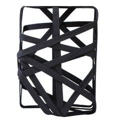 Contemporary Side Table Made from Hardened Cotton Strips, Rectangle