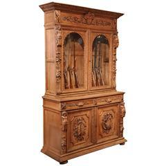 19th Century French Napoleon III Carved Light Oak Gun Cabinet