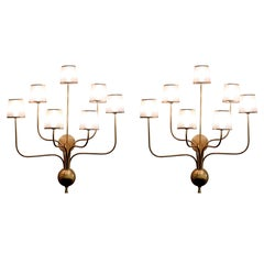 Pair of Large Brass Sconces in the Manner of Jean Royere