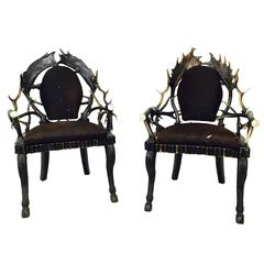 Pair of Vintage Antler Armchairs by Anthony Redmile