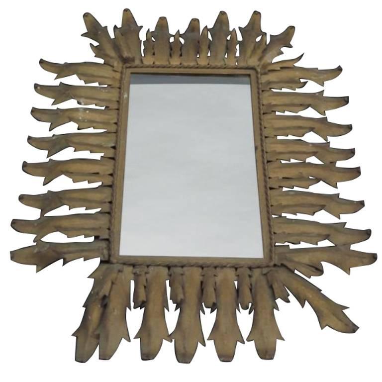 French Mid-Century Modern Neoclassical Gilt Iron Rectangular Sunburst Mirror For Sale
