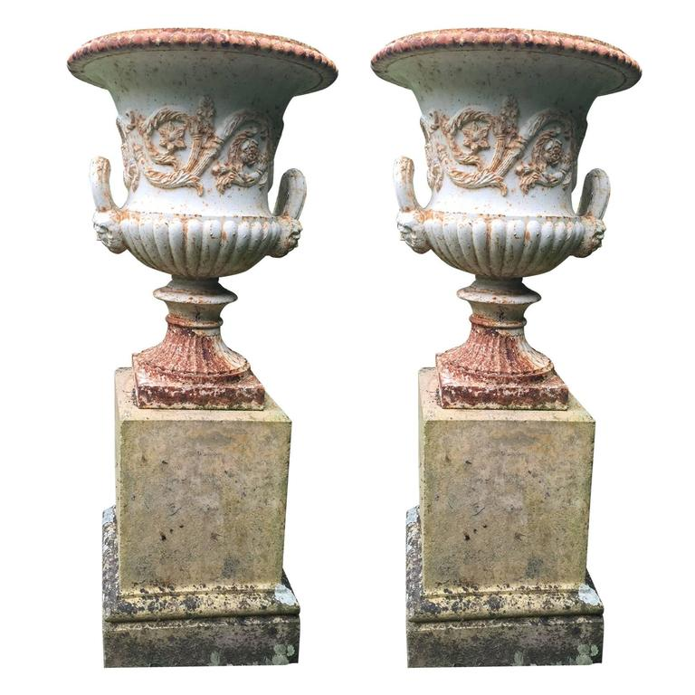 19th Century Pair Of Antique Cast Iron Urn At 1stdibs