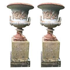 19th Century Pair of Antique Cast Iron Urn