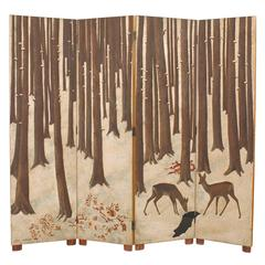 Exquisite Lacquered Wood and Eggshell Screen by Jean Dunand