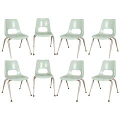 Set of Eight Brunswick Mint Fiberglass Chairs