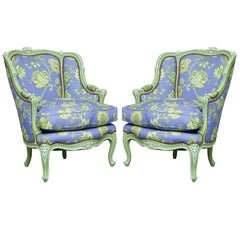 Pair of Painted Louis XV Bergeres