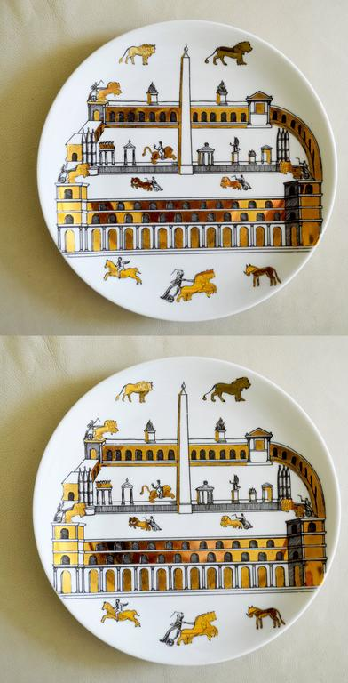 Mid-20th Century Vintage Piero Fornasetti Set of Nine Porcelain Plates, Anfiteatro, 1960s For Sale