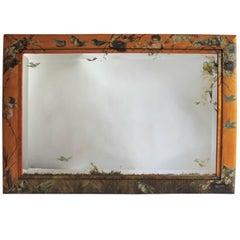 19th Century Monumental Original Hand-Painted Bird's-Eye Maple Mirror