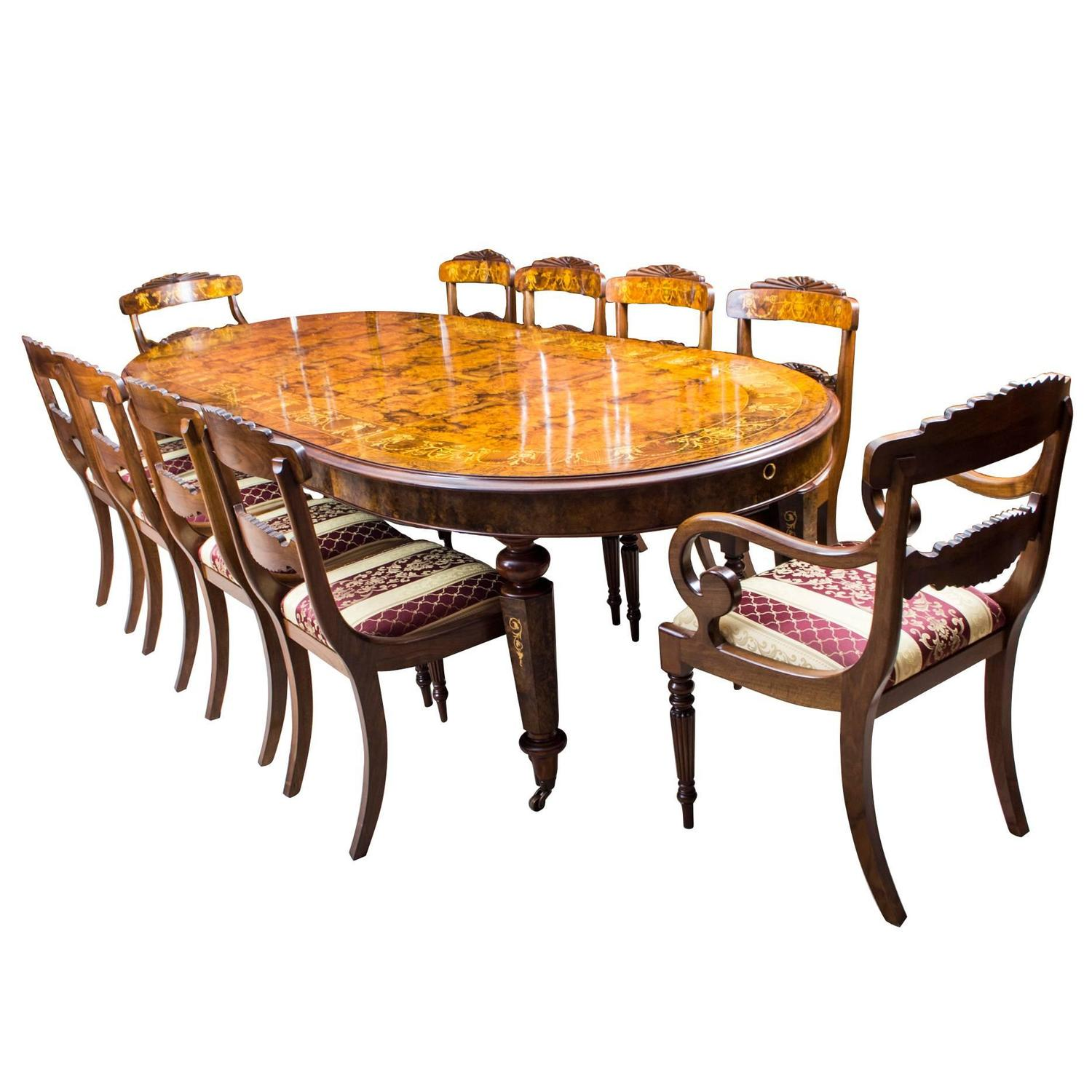 Stunning Bespoke Handmade Burr Walnut Marquetry Dining Table 10 Chairs For  Sale At 1stdibs