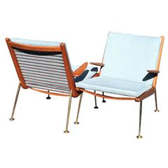 Pair of Boomerang Armchairs by Peter Hvidt and Orla Mølgaard-Nielsen for France