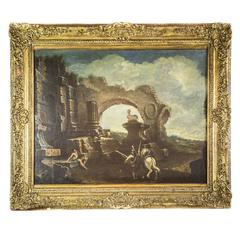 Early 18th Century Italian Baroque Landscape Large Italian Capriccio of Ruins