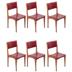 Set of 6 Carlo De Carli Mod 693 Chairs for Cassina in Dark Red Faux Leather