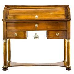 19th Century Italian Empire Walnut Center Cylinder Bureau Desk