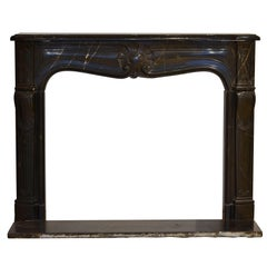 "Louis XV Fireplace in ""Noir De Sablé"" Marble, 18th Century With Original Floor"