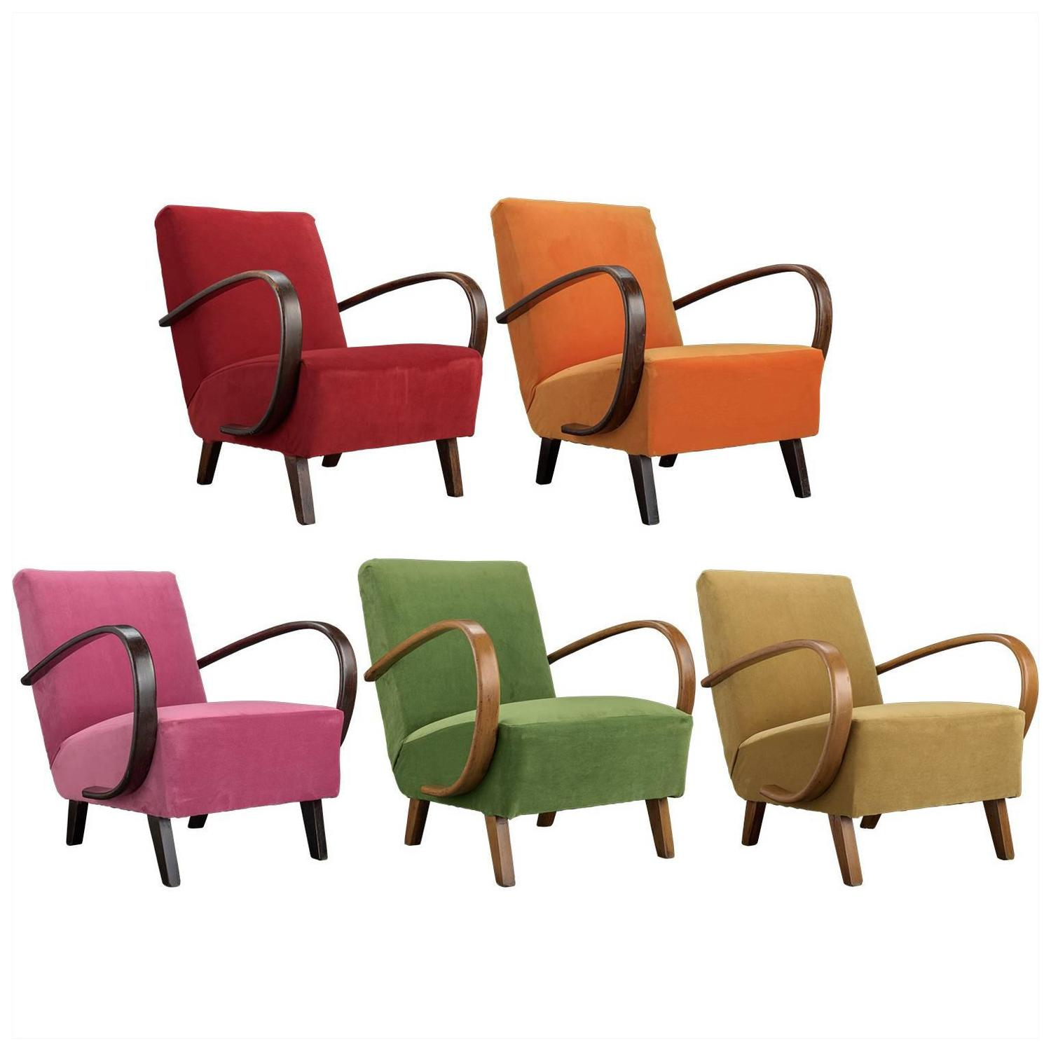 Jindrich Halabala Velvet and Bentwood Armchairs circa 1930 For