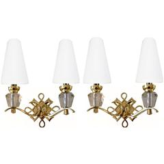 Pair of  French Wall Sconces, Jules Leleu Style. 4 Pair available