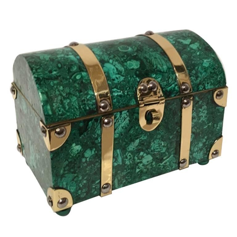 Italian Malachite and Brass Treasure Chest Box